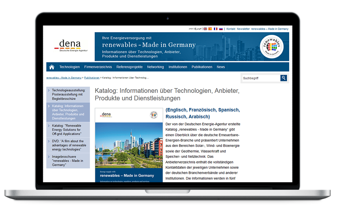Website der Exportinitiative renewables made in germany
