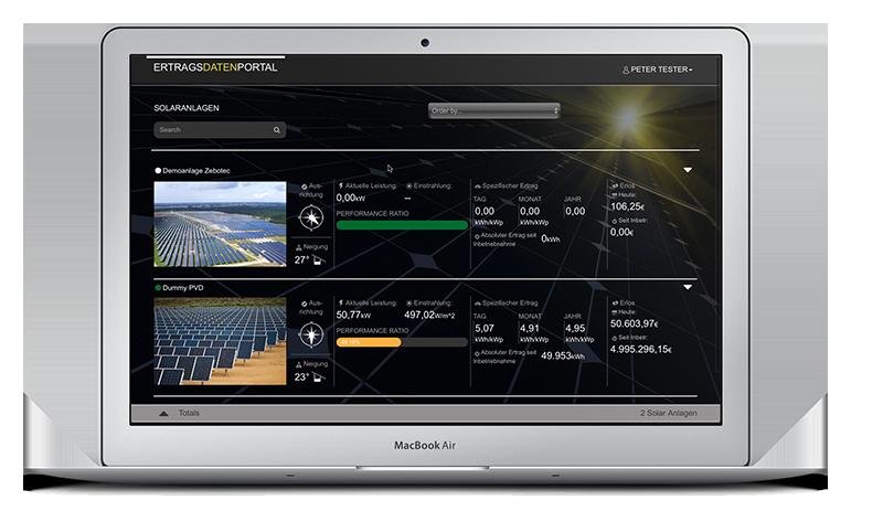 Endkundenportal1 für Solaranlagenüberwachung