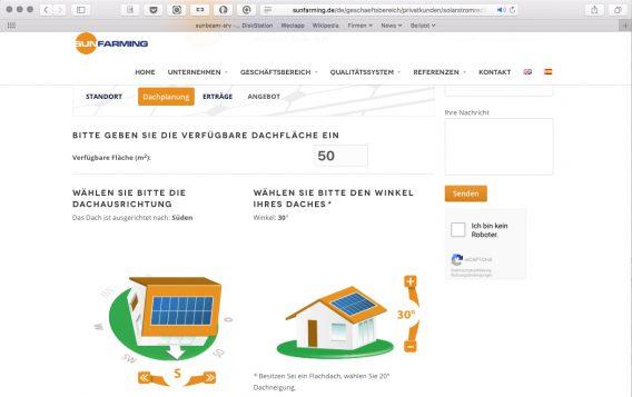 Screenshot Auslegung PV-Anlage