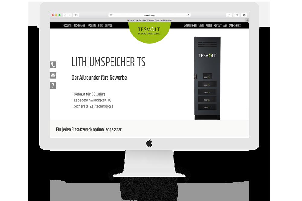 Tesvolt-Website aud Computerbildschirm