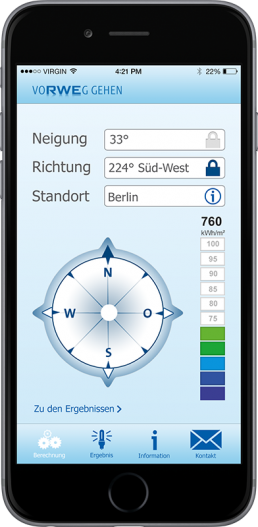 Suncheck app from RWE on smartphone,