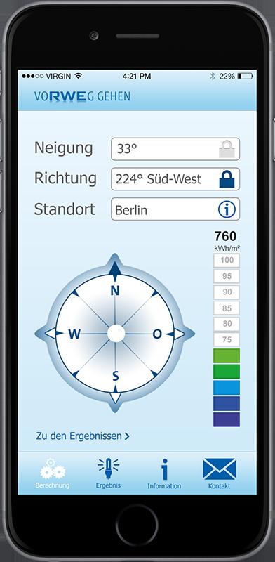 Suncheck-App von RWE auf Smartphone