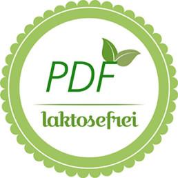 Gütesigel mit Aufschrift PDF-laktosefrei