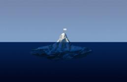 Bild eines Eisberges mit innogy-Flagge