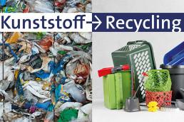 Plastik-Abfall links, Plastik-Produkte rechts