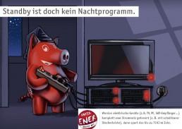 rots Schwein schaltet nachts den Fernseher aus