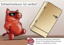 rotes Schwein kickt teuren alten Kühlschrank mit dem Fuß