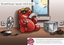 rotes Schwein verzichtet auf Ventilator und Klimaanlage