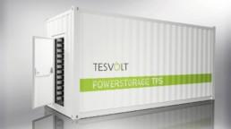 Ein Stromspeicher-Container der Firma Tesvolt