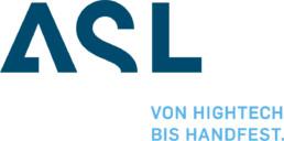 Logo ASL int blauen Großbuchstaben und Claim