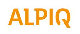 Logo Alpiq in orangen Großbuchstaben auf dunkelblauem Grund