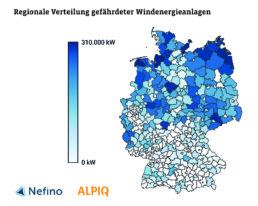 Deutschlandkarte mit Ländern: Regionale Verteilung gefährdeter Windenergieanlagen