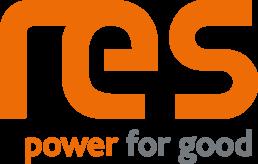 Das Logo der Firma RES ist orange. Die Buchstaben